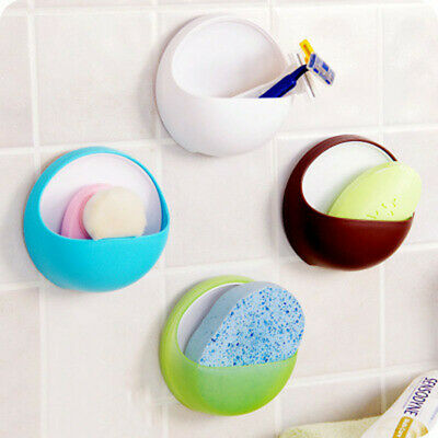 Plastic Suction Cup Soap Toothbrush Box Dish Holder Bathroom Shower AccessoryB