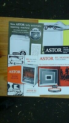Four Astor  Leaflets.Two Heaters,Clothes Dryer,Washing Machine.