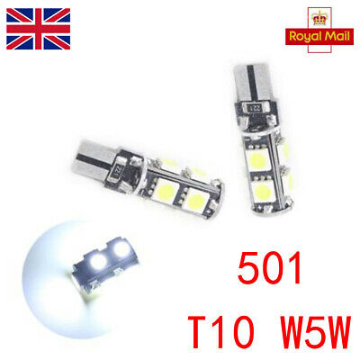 T10 501 W5W Car Side Light Bulbs Error Free Canbus Wedge 9 Smd Led Xenon Hid 2X