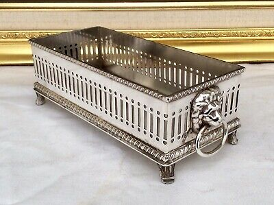 Rare Antique Silver On Copper Footed Biscuit Tray Lionsheads Handles C1920