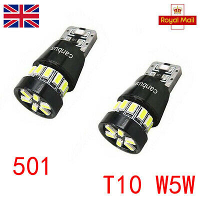 501 Super Bright Canbus Cree Led Side Light W5w T10 18 Smd Xenon White Bulbs 2X