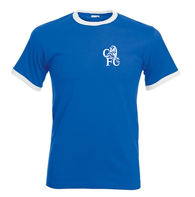 Chelsea Home Away Retro Football T Shirt  Ringer Classic Vintage All Sizes New
