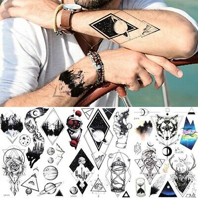 bcf502ba5 Geometry Rhombus Planet Temporary Tattoo For Men Women Galaxy Wolf Tatoo  Sticker