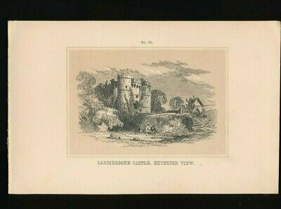 Orig. Ton-Lithographie Isle of Wight Carisbrooke Castle Exterior View, 1859 (ST1