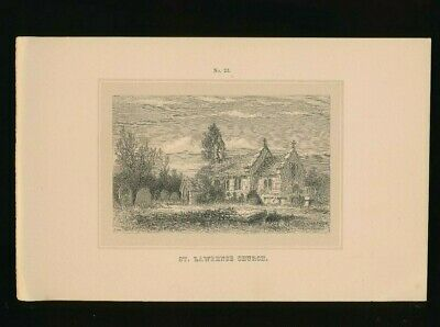 Orig. Ton-Lithographie Isle of Wight, St. Lawrence Church, 1859,  (ST1)