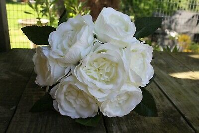 7 x IVORY (PALE CREAM) SILK DAVID AUSTIN PEONY ROSES 8cm TIED BUNCH