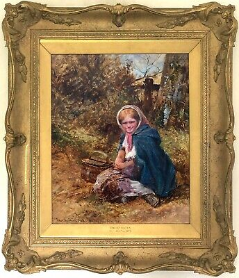 A Rustic Girl Antique Genre Oil Painting by David Bates (British, 1840-1921)