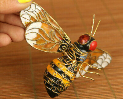 Lovely Antiques cloisonne hand carved bee bird statue netsuke ornament gift
