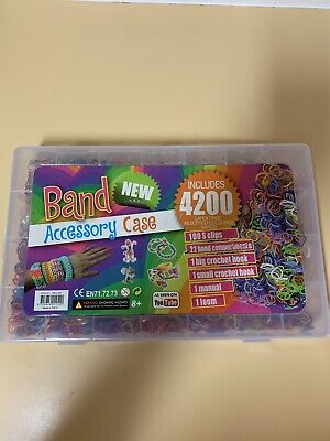 Colorful Loom Bands Rubber Band Multiple Colors With Tools In Clear PVC Case