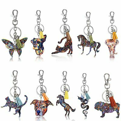 Cute Printing Cat Dog Horse Animal Key Chain Keychain Pendant Keyring Accessorie