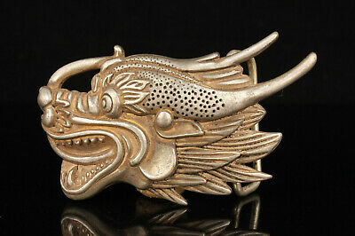 China Hand-carved Hollow Out White Copper Dragon Head Belt Buckle