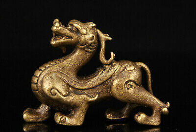 China Collectible Handwork Carving Retro Brass Kylin Statue