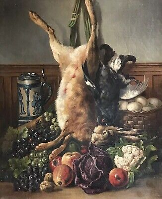 Fine Antique French Signed Oil Painting - The Pantry Dead Game With Fruit & Veg