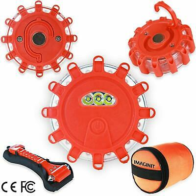 3 Pack LED Road Flares Emergency Disc Roadside Safety Light Flashing Road Beacon