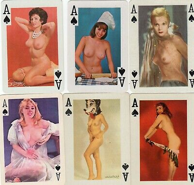 """6 x RARE VINTAGE """"Lovely Ladies all Ace of Spades"""" SINGLE Playing Cards"""