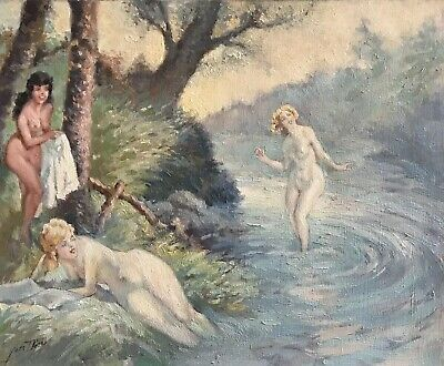 Yves Thiey (1892-1984) Signed French Impressionist Oil - Nudes Bathing In River