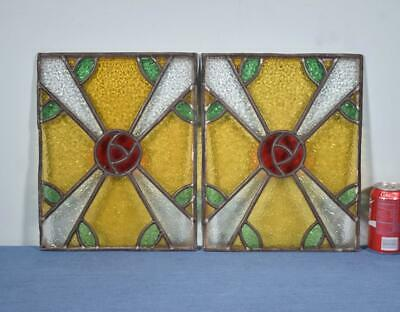 *Pair of Antique Stained Glass Panels with Rose Pattern Salvage