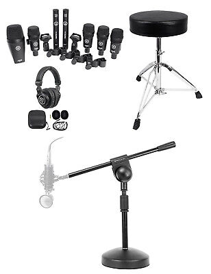 AKG Drum Set Session I (7) Mics Bass/Overhead/Snare/Tom+Throne+Stand+Headphones