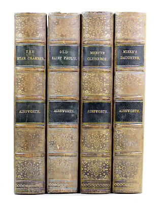 Old Antique 1880s 19th Century Novels William Harrison Ainsworth Leather Bound