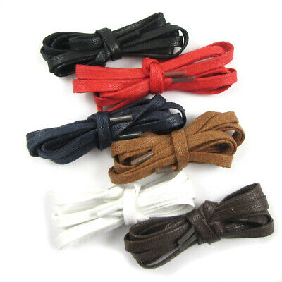 6mm FLAT WAX SHOE LACES 70cm - 180cm *6 COLOURS * BROGUES STYLISH PAIR NEW BOOTS