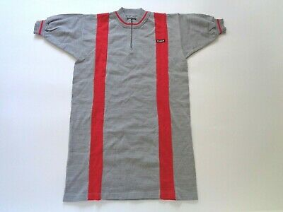 *NOS Vintage 1970s/80s COLOMBI Italian wool cycle jersey (grey/red) Medium*