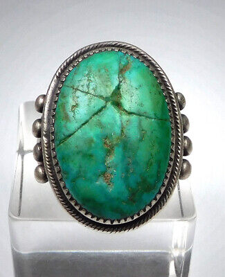 Vintage Native American Sterling Silver/ Large Turquoise  Ring- Size 9.25
