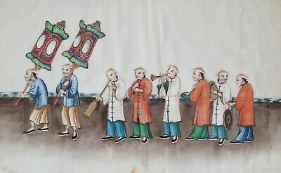 Fine antique Chinese 19th century Canton pith painting