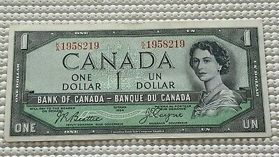 1954 Bank of Canada 1 Dollar Devils Face Note