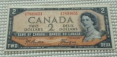 1954 Bank of Canada 2 Dollar Devils Face Note
