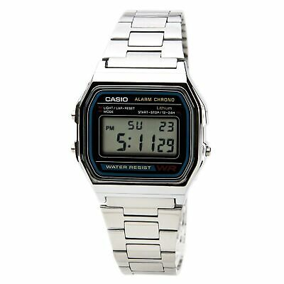Casio A158W-1 Men's Digital Grey Dial Steel Chrono Stop Watch