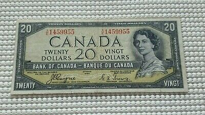 1954 Bank of Canada 20 Dollar Devils Face Note $20