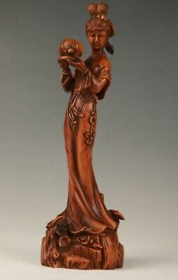 Chinese Boxwood Handmade Carving Ancient Maid Statue Decorative Collection