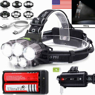 150000LM 5X T6 LED Headlamp Rechargeable Head Light Flashlight Torch Waterproof