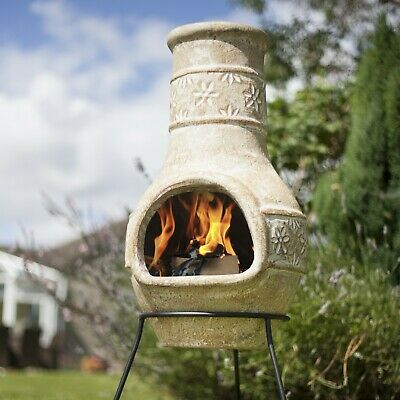La Hacienda Star Flower Clay Chiminea Outdoor Patio Heater Natural 75x36cm