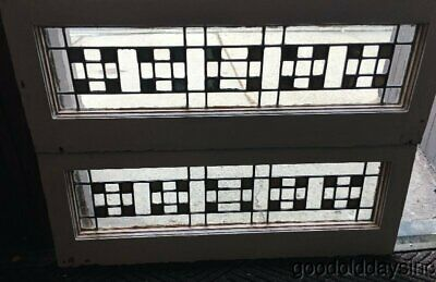 "2 of 5 Arts & Crafts Gold Mirrored Leaded Stained Glass Transom Window 33"" x 12"""