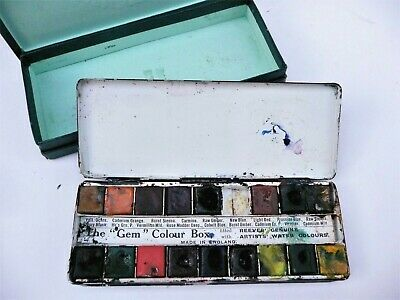 Small hand held VINTAGE Reeves Travelling Artists' WATER COLOURS Tin Box