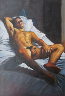 """Hand Painted Portrait Oil Painting On Canvas : """"Nude Male"""" 24""""X36"""" 16269"""