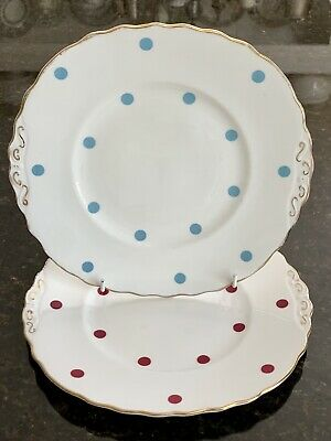 Royal Vale Polka Dot Cake Plates X TWO!!!! Red Spots And Blue Spots