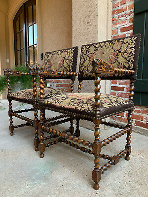 PAIR 2 Antique English BARLEY TWIST Oak ARM Dining Chair Renaissance Lion