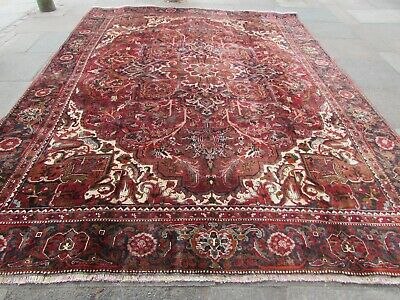 Old Worn Traditional Hand Made Persian Oriental Red Wool Large Carpet 376x298cm