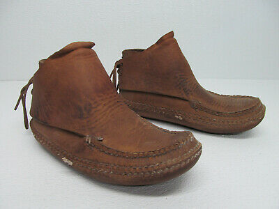Vintage Walter Dyer Moccasins Mountain Man Rendezvous Boots Brown Leather