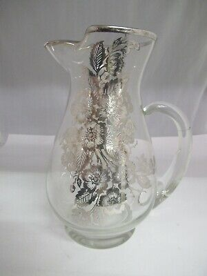 Vintage Glass Pitcher With Sterling Silver Flowered Overlay, 423-E