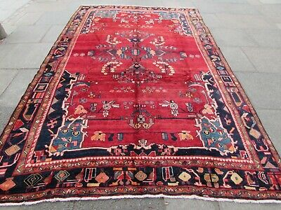 Old Hand Made Traditional Persian Rug Oriental Wool Red Large Carpet 341x217cm