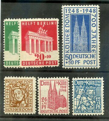 GERMANY (ALLIED OCC, AM+BR ZONE) Sc B298-303(MI 69-72,101-2)*F-VF LH 1948 $22