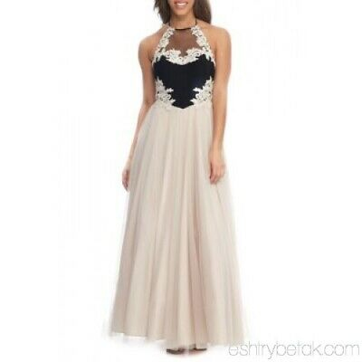 12d8abe1a5c Dillard s- Blondie Nites Prom Dress- Size 1 Halter Neck Embroidered Formal  Gown