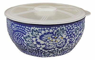 Ming Style White Blue Floral Design Ceramic Meal Lunch Storage Bowl With Lid