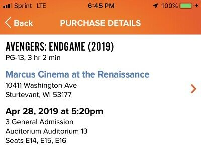 INSTANT QUICK DELIVERY. 3 Movie Tickets - Avengers Endgame. Sunday April 28th