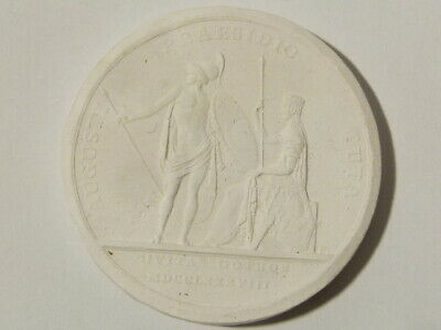 Antique Medal  AUGUSTI PRAESIDIO TUTA 1788 Plaster Moulding Grand Tour #W34