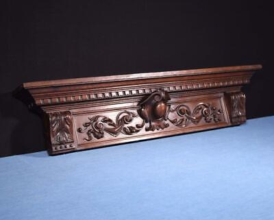 "*35"" French Antique Pediment/Crest in Carved Walnut Wood Salvage"