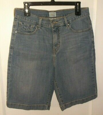 d5cb5e98 Levi's 512 Perfectly Slimming Bermuda Blue Denim Shorts sz 12 Button Flaps  ...